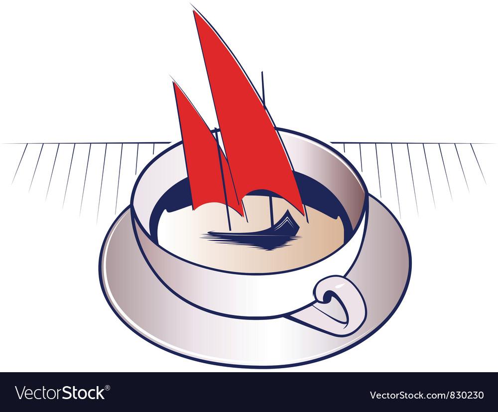 Coffee mug and sail boat vector | Price: 1 Credit (USD $1)