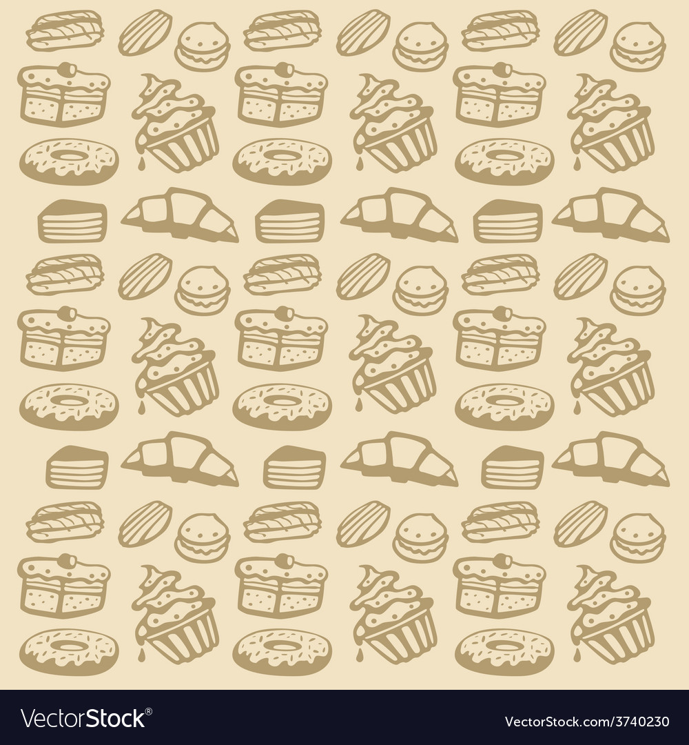 Cupcake seamless pattern vector | Price: 1 Credit (USD $1)