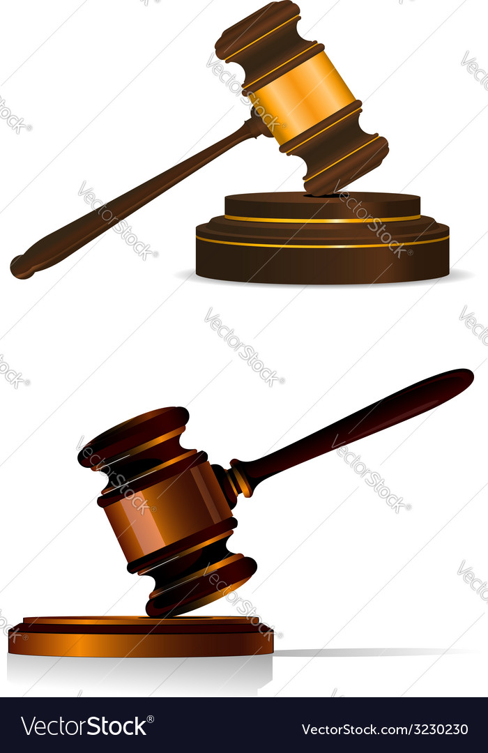Judge or auctioneers gavel on white vector | Price: 1 Credit (USD $1)
