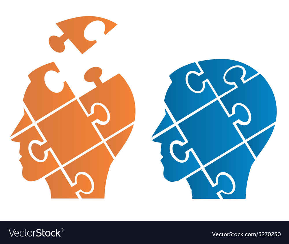 Puzzle heads symbolizing psychology vector | Price: 1 Credit (USD $1)