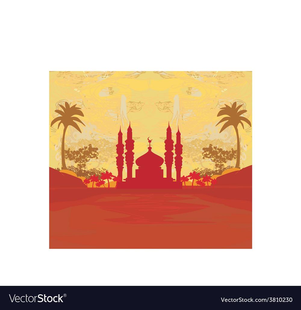 Ramadan background - mosque silhouette card vector   Price: 1 Credit (USD $1)