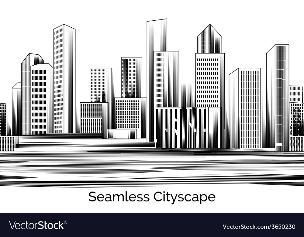 Seamless cityscape engraving vector | Price: 1 Credit (USD $1)