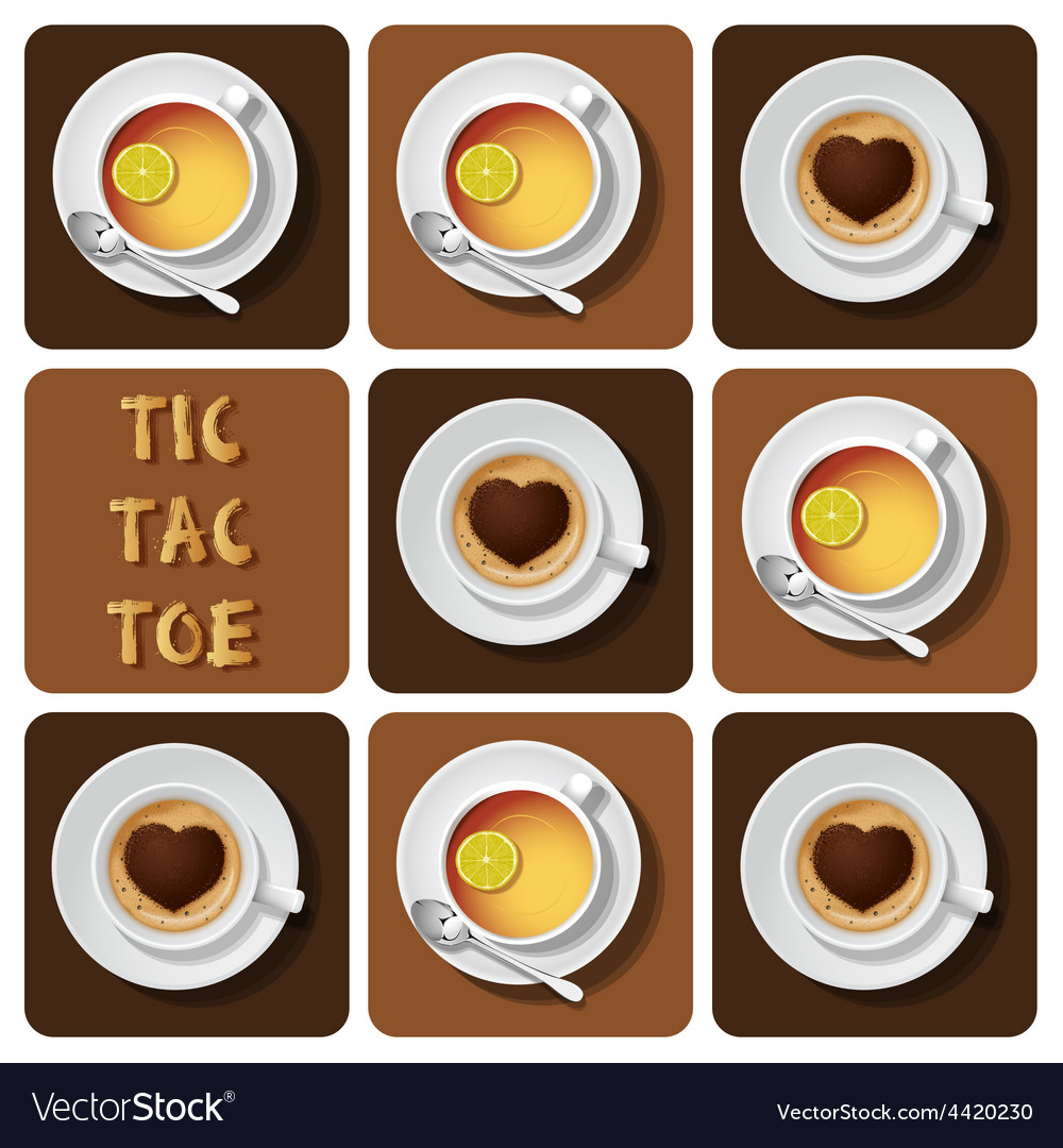 Tic-tac-toe of cappuccino and tea vector | Price: 1 Credit (USD $1)