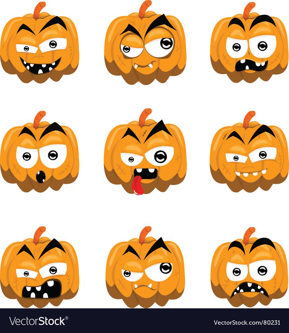 Cartoon halloween pumpkins vector | Price: 1 Credit (USD $1)