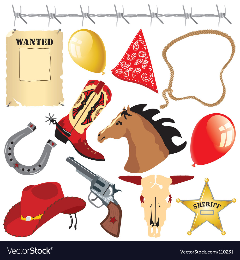 Cowboy birthday party clip art vector | Price: 3 Credit (USD $3)