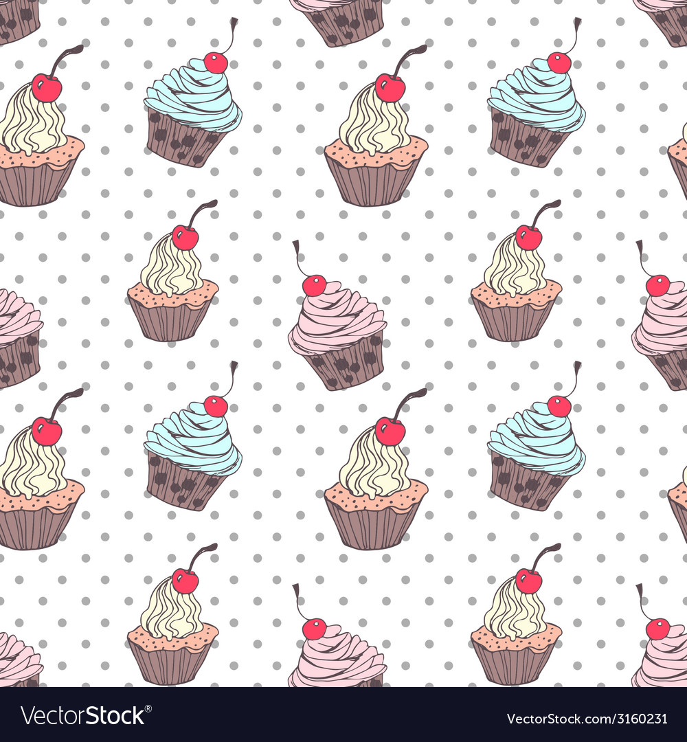 Doodle cupcakes pattern vector   Price: 1 Credit (USD $1)