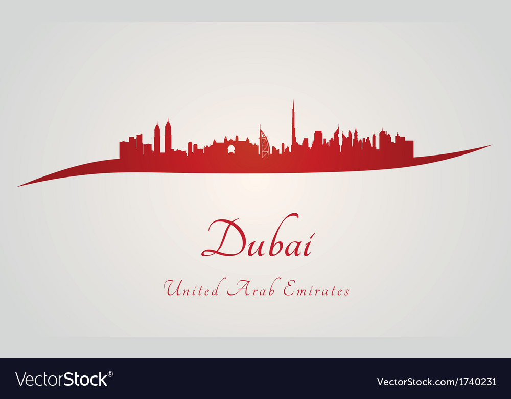 Dubai skyline in red vector | Price: 1 Credit (USD $1)