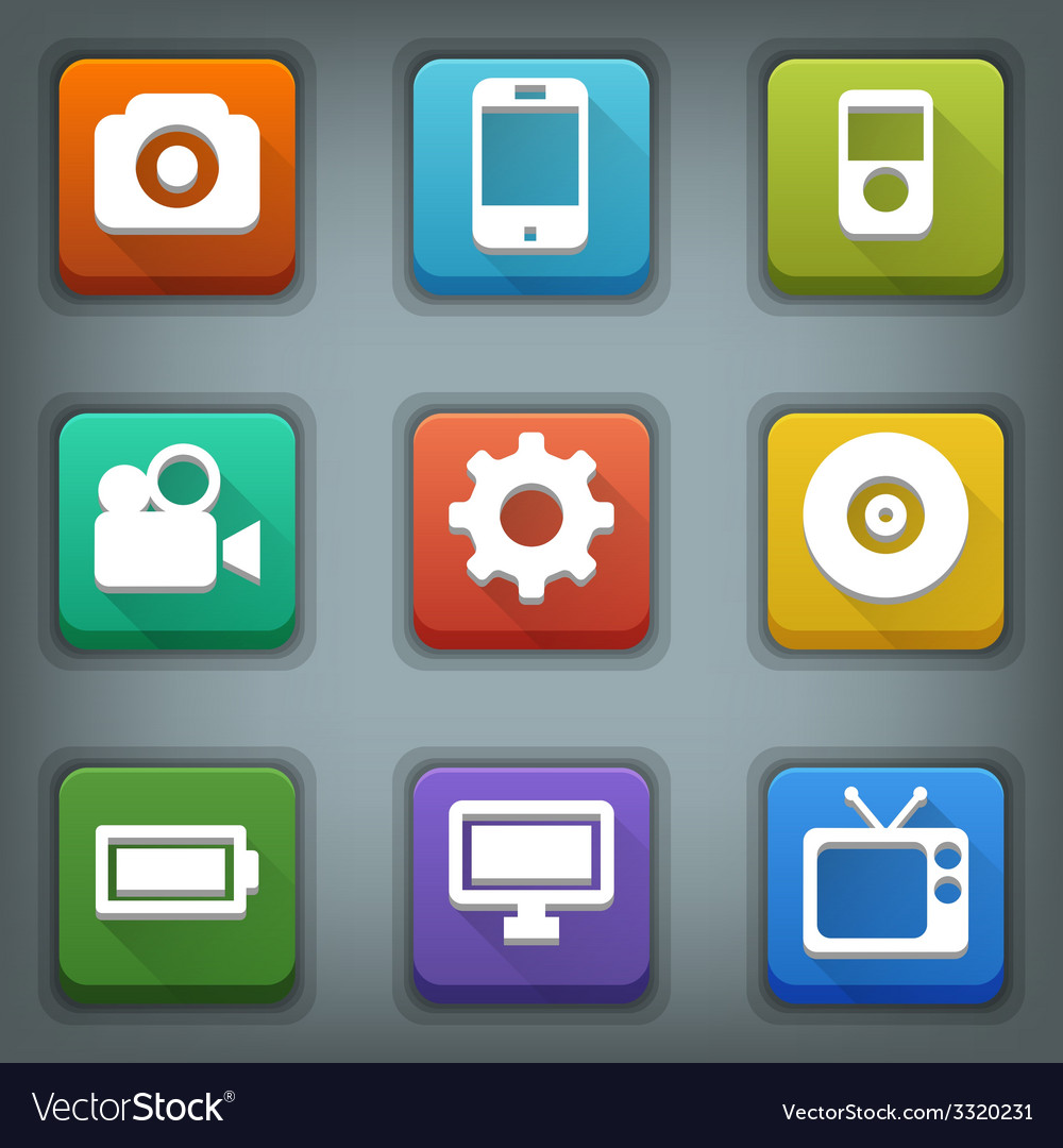 Flat icon set white symbols device vector | Price: 1 Credit (USD $1)