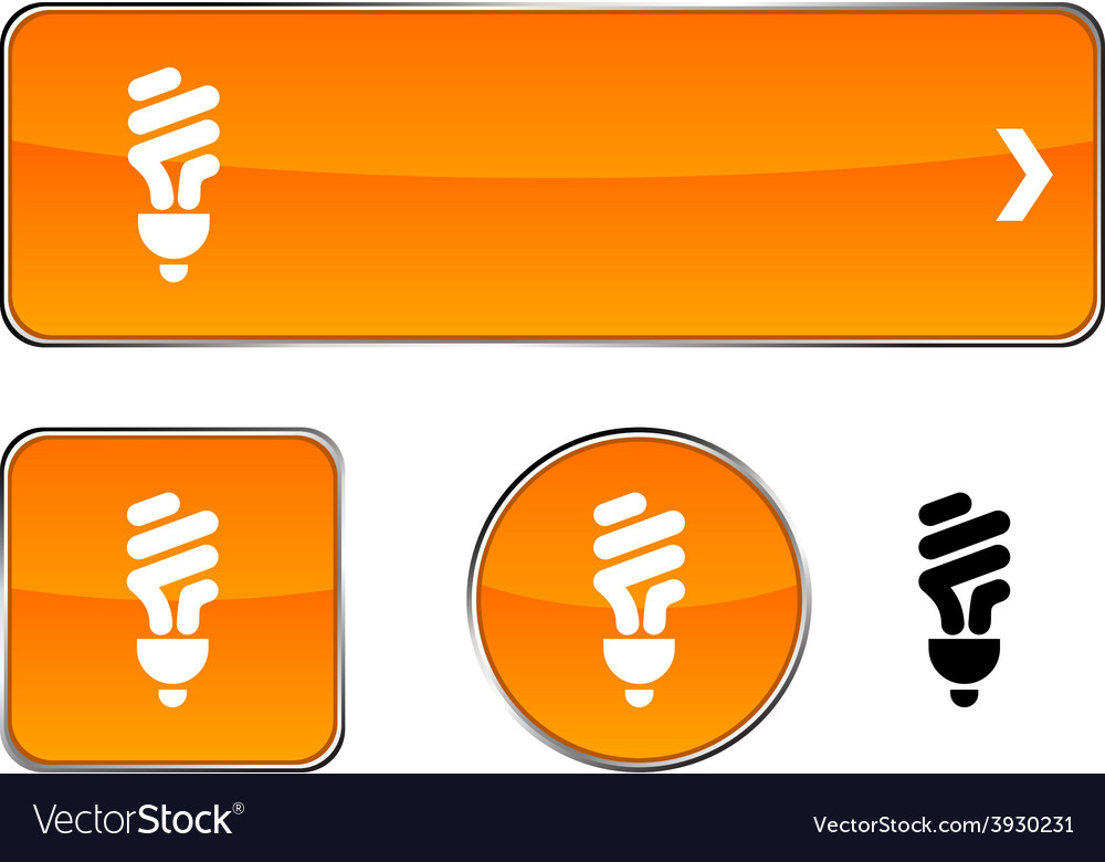 Fluorescent bulb button set vector | Price: 1 Credit (USD $1)