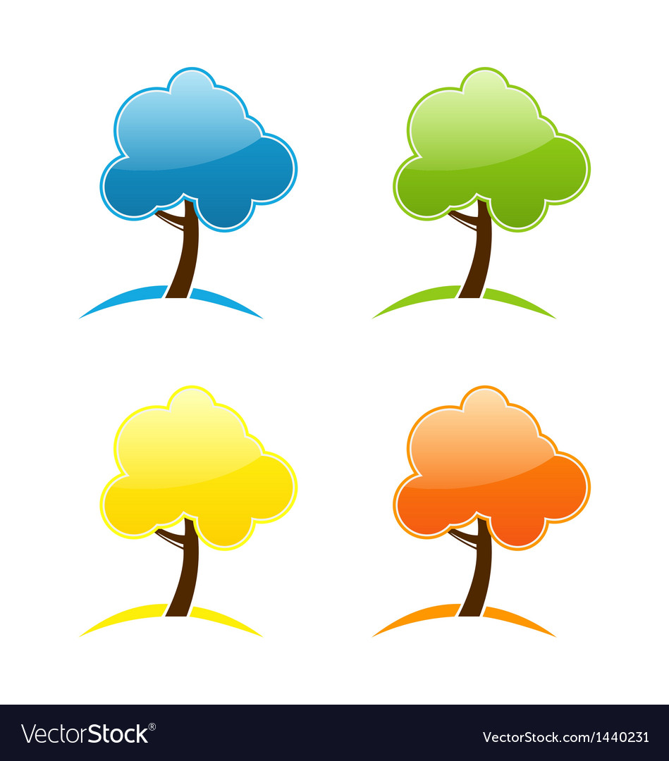 Four seasonal icons with tree vector | Price: 1 Credit (USD $1)