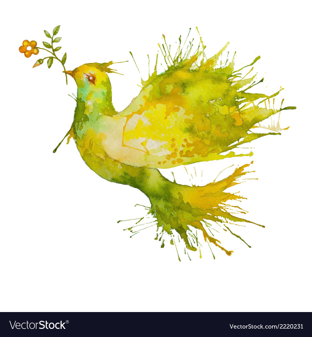 Green dove flying with flower branch vector | Price: 1 Credit (USD $1)