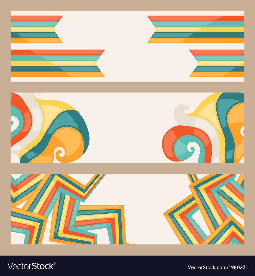 Hipster style horizontal banners vector | Price: 1 Credit (USD $1)
