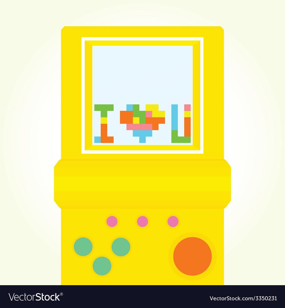 I love you brick game postcard vector | Price: 1 Credit (USD $1)