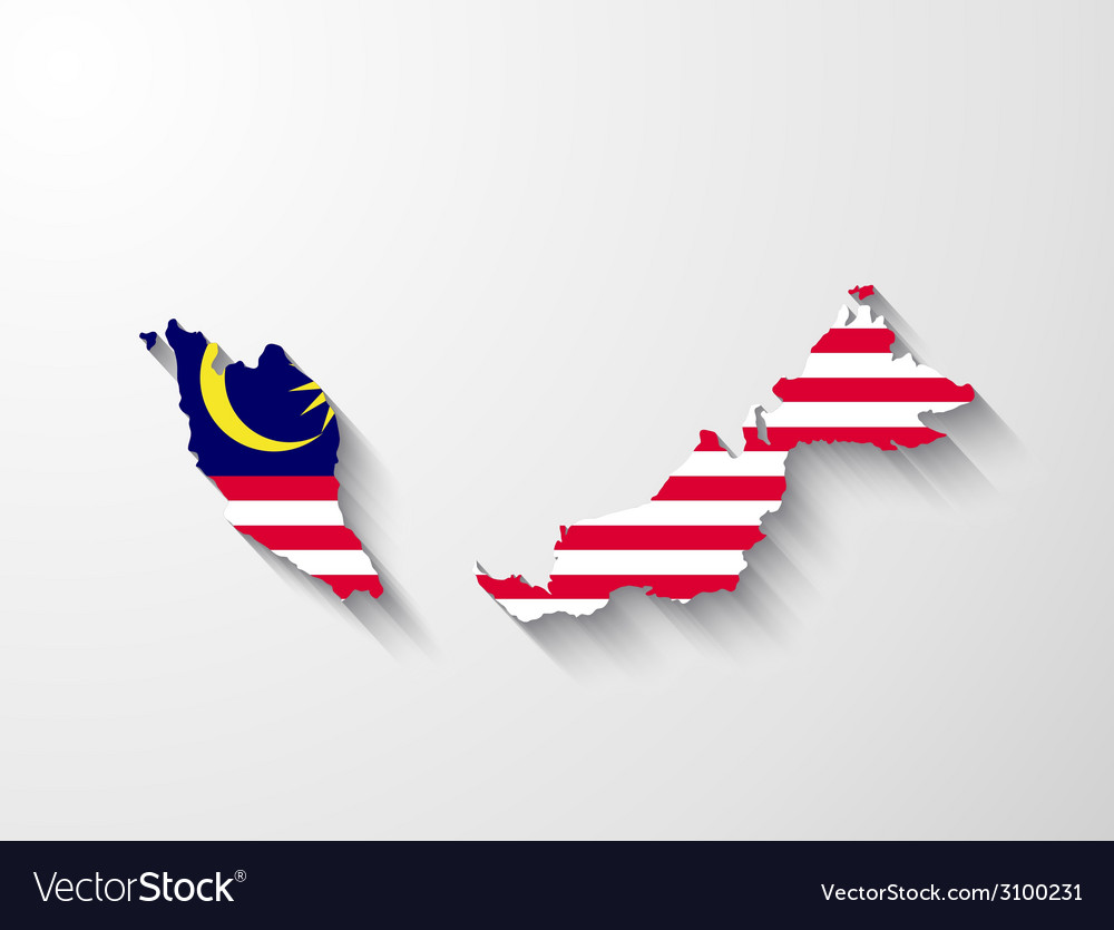 Malaysia map with shadow effect vector | Price: 1 Credit (USD $1)