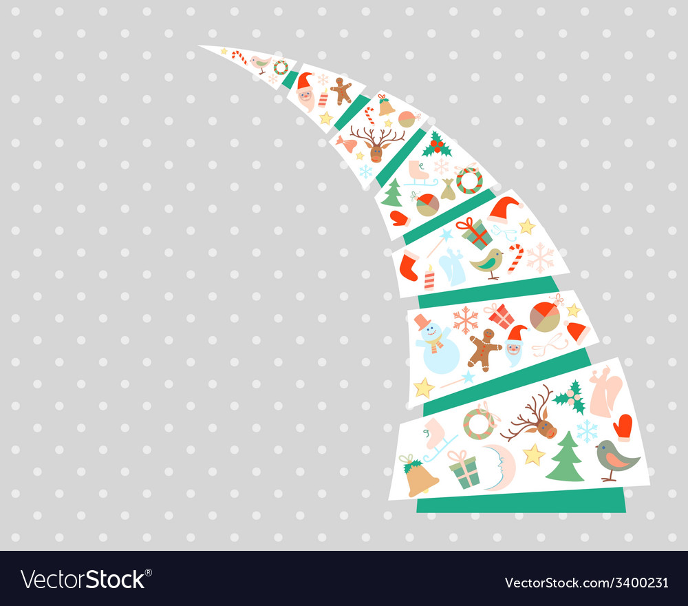 New year and christmas fir tree with decorations vector | Price: 1 Credit (USD $1)