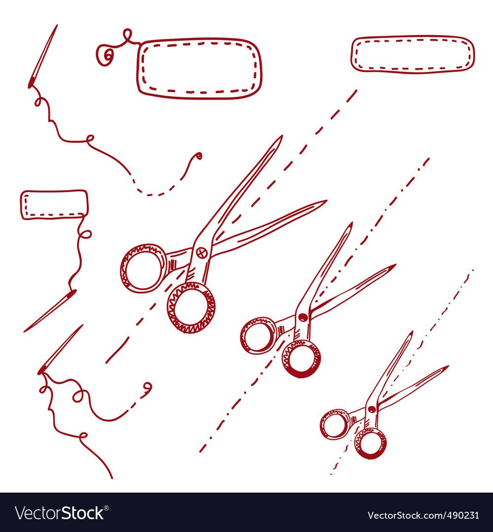 Scissors needles vector | Price: 1 Credit (USD $1)