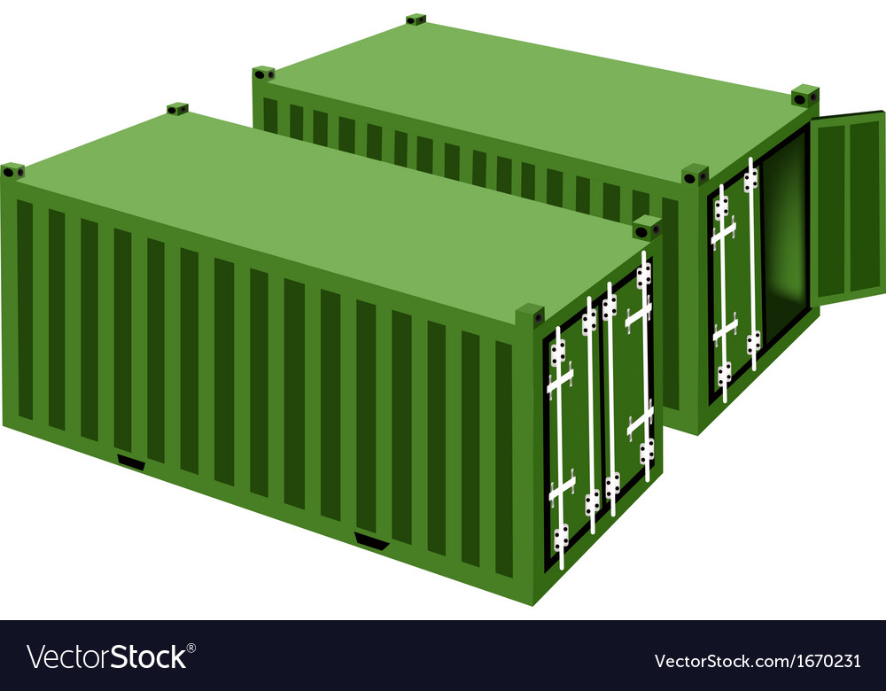 Two green cargo containers on white background vector | Price: 1 Credit (USD $1)