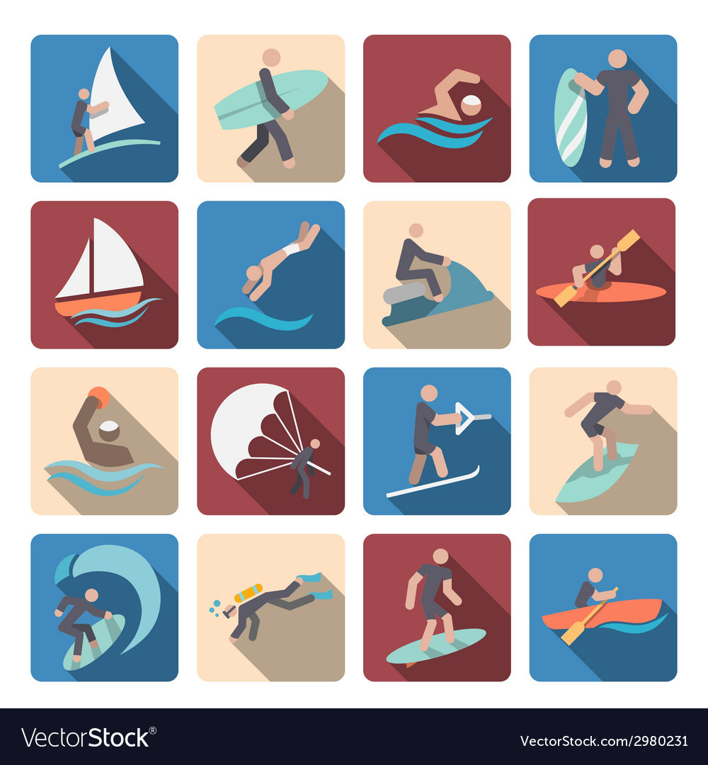 Water sports icons set colored vector | Price: 1 Credit (USD $1)