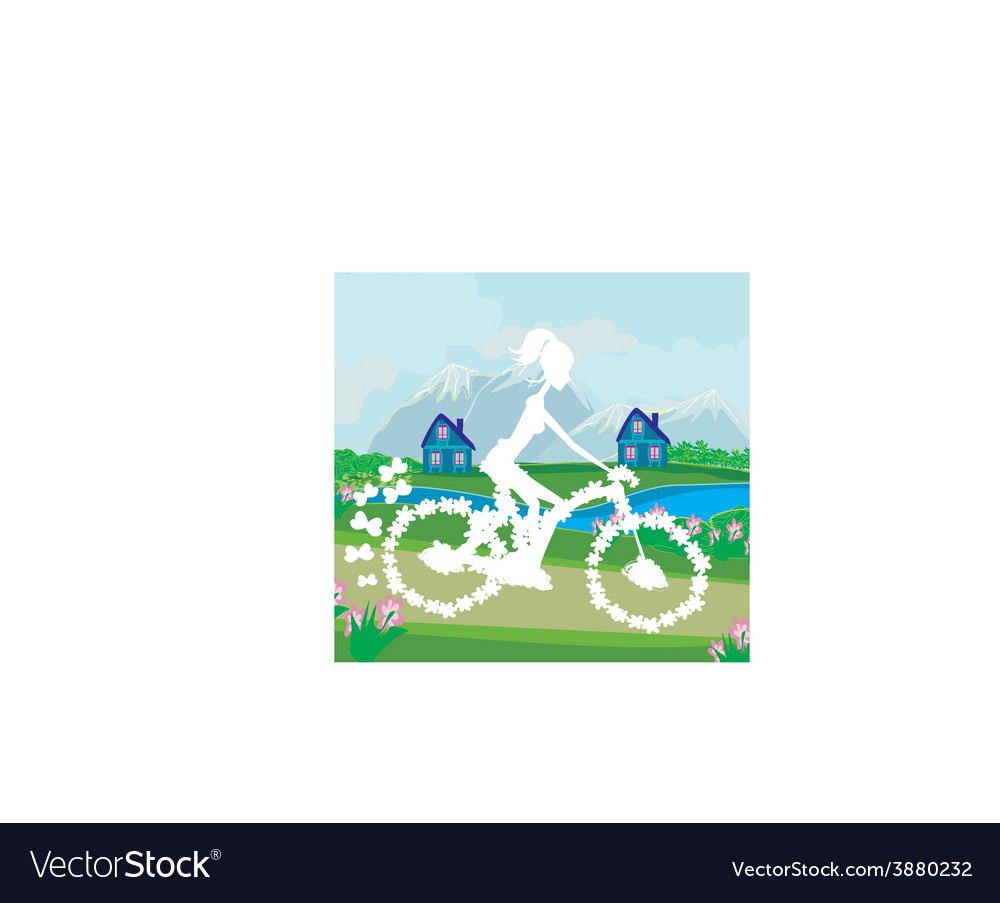 Abstract card with girl riding a bike vector | Price: 1 Credit (USD $1)