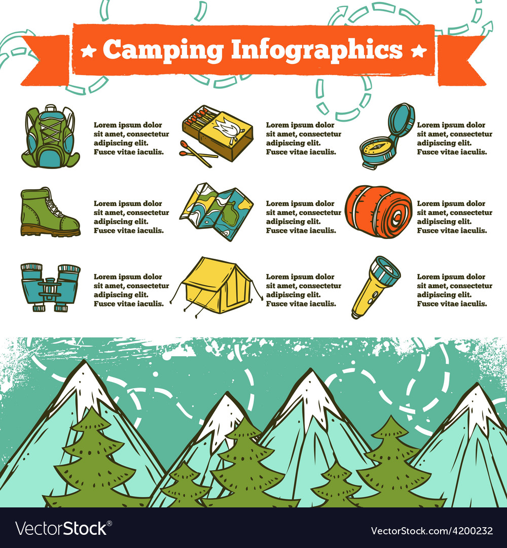 Camping infographics sketch vector | Price: 1 Credit (USD $1)