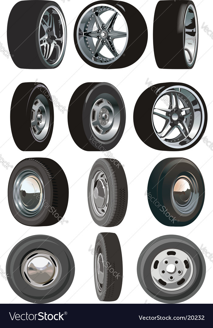 Car wheels set vector | Price: 1 Credit (USD $1)