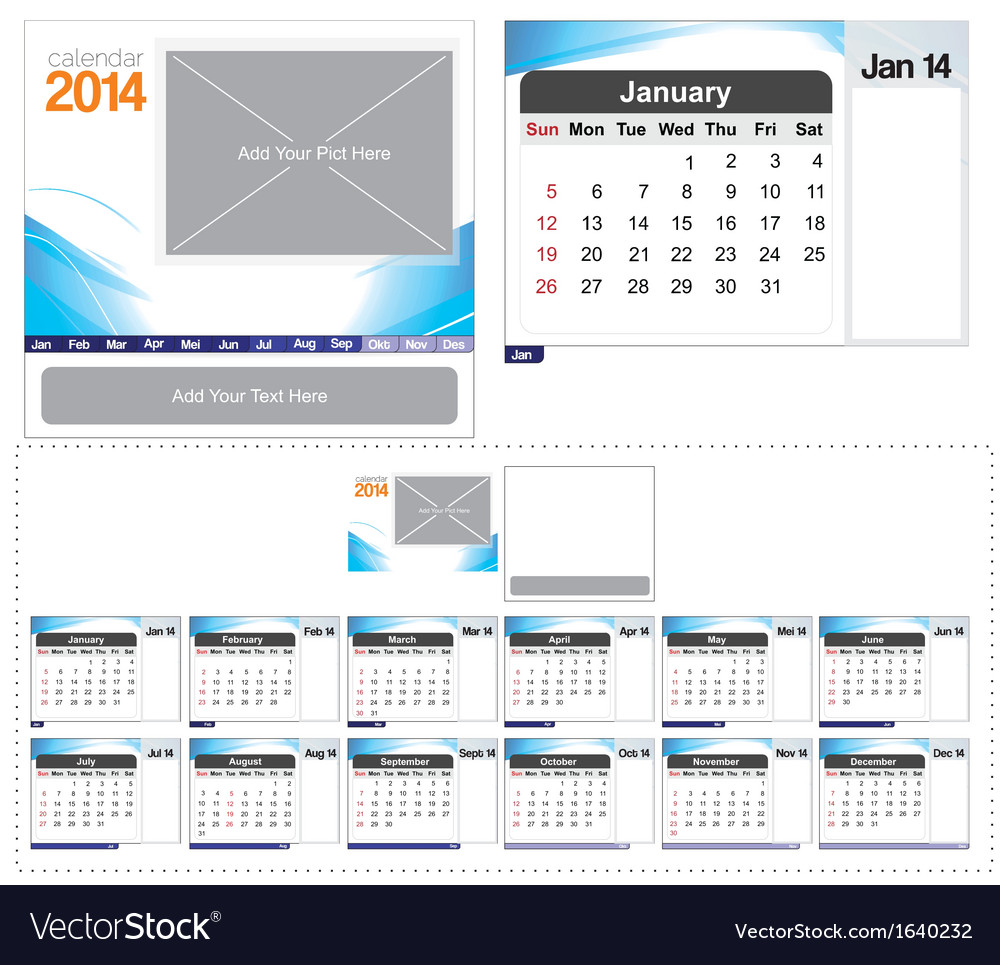 Desk calendar template 2014 vector | Price: 1 Credit (USD $1)