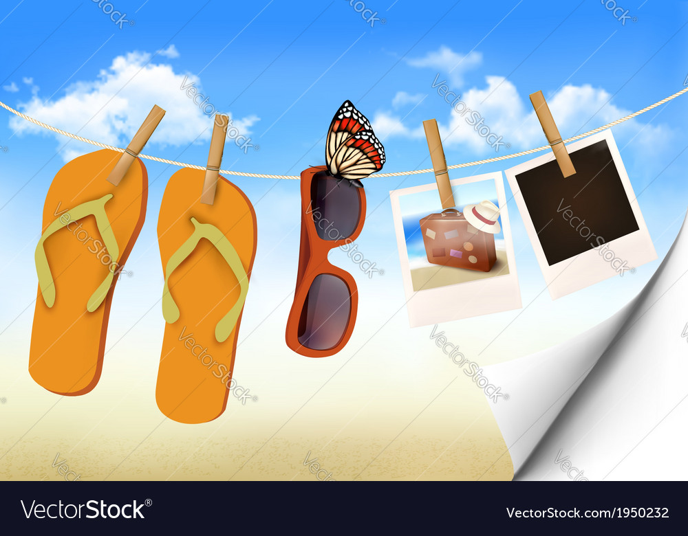 Flip flops sunglasses and photo cards hanging on a vector   Price: 1 Credit (USD $1)