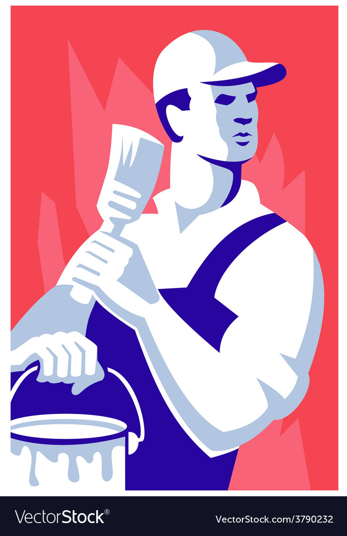 Painter worker paint brush vector | Price: 1 Credit (USD $1)