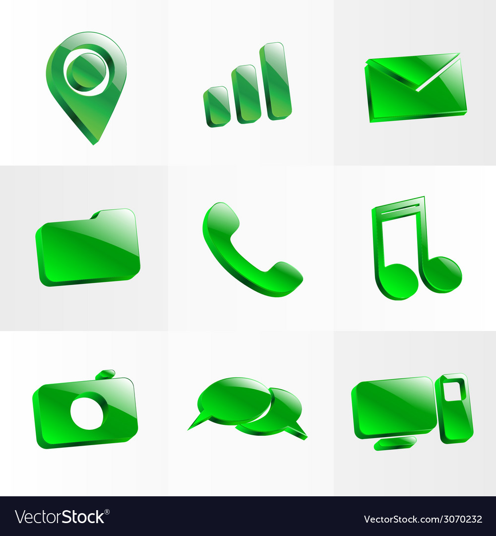Set glass icons button color symbol vector | Price: 1 Credit (USD $1)
