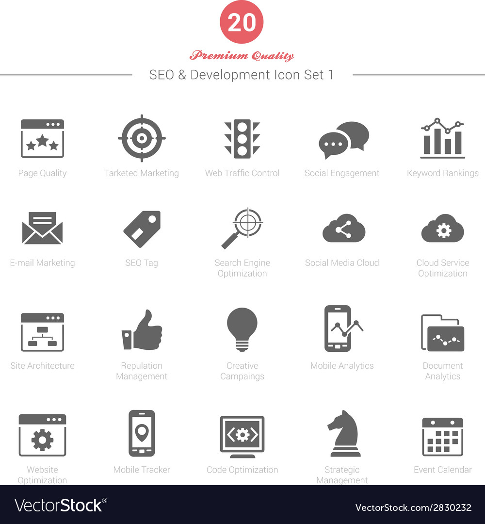 Set of seo and development icons set 1 vector | Price: 1 Credit (USD $1)