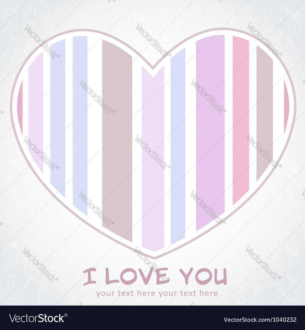 Stripped heart love greeting floral postcard vector   Price: 1 Credit (USD $1)