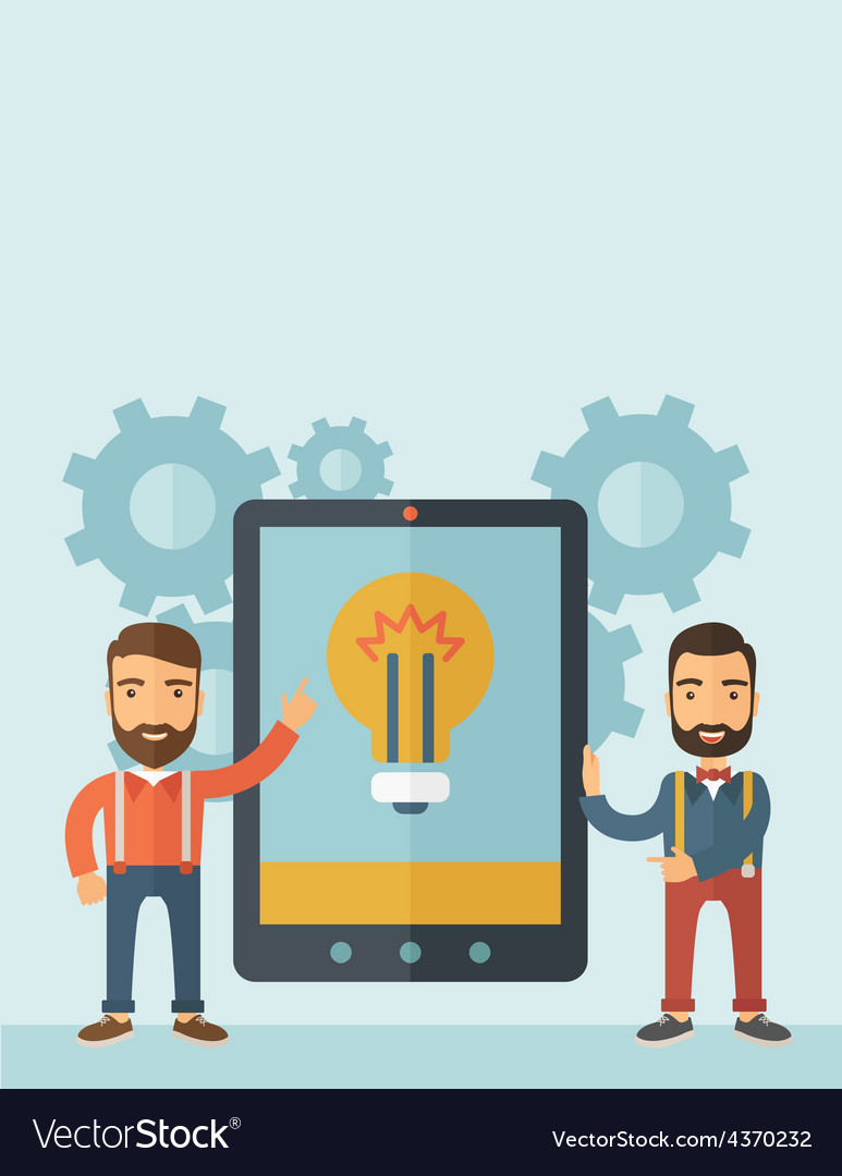 Two men holding a big screen tablet vector