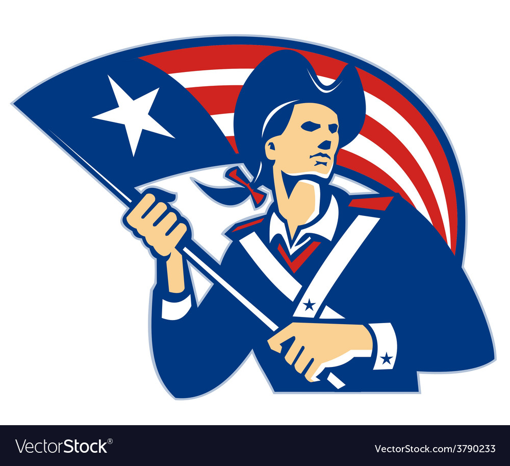 American patriot minuteman with flag retro vector | Price: 1 Credit (USD $1)