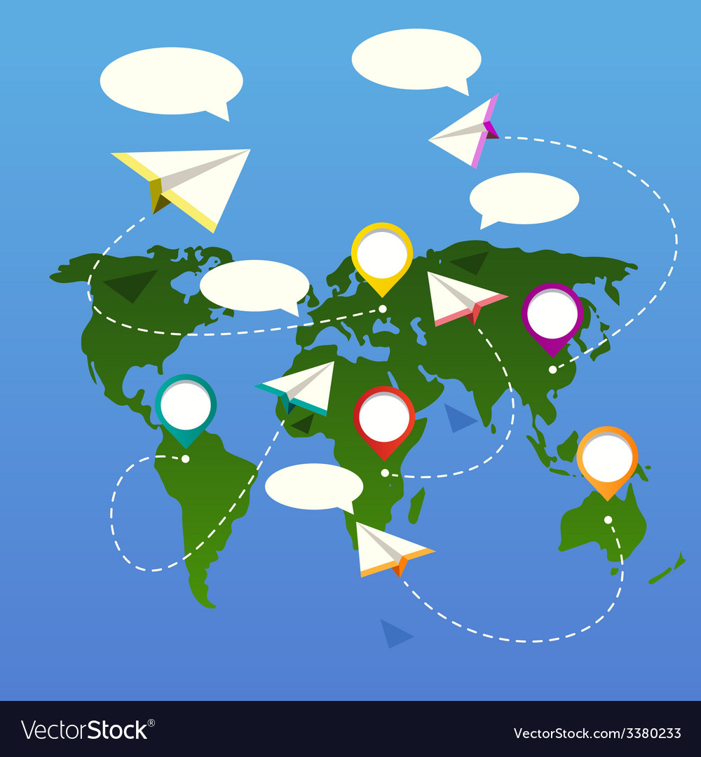 Bubble depicting a world map with white plane vector   Price: 1 Credit (USD $1)