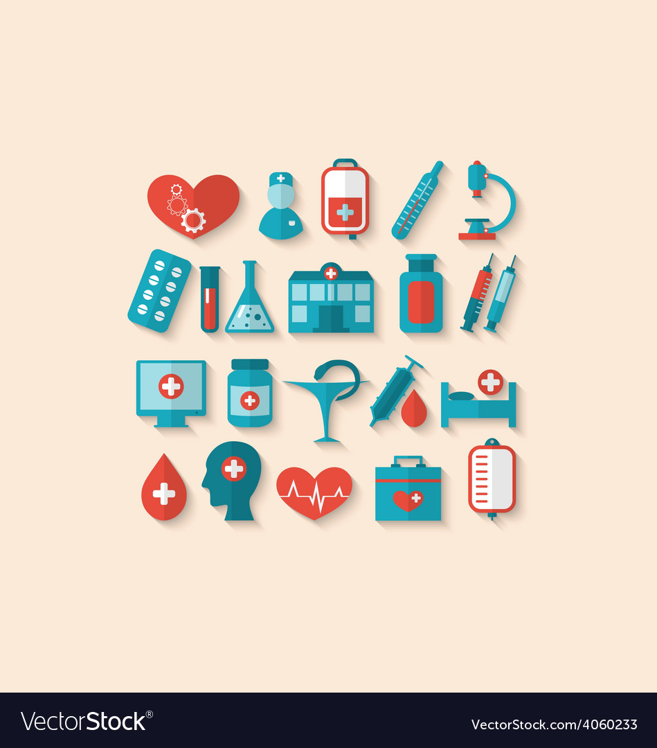 Collection trendy flat icons of medical elements vector | Price: 1 Credit (USD $1)