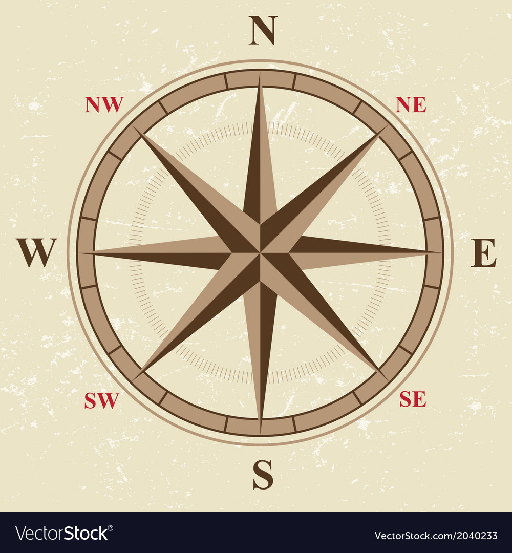 Flat compass vector | Price: 1 Credit (USD $1)