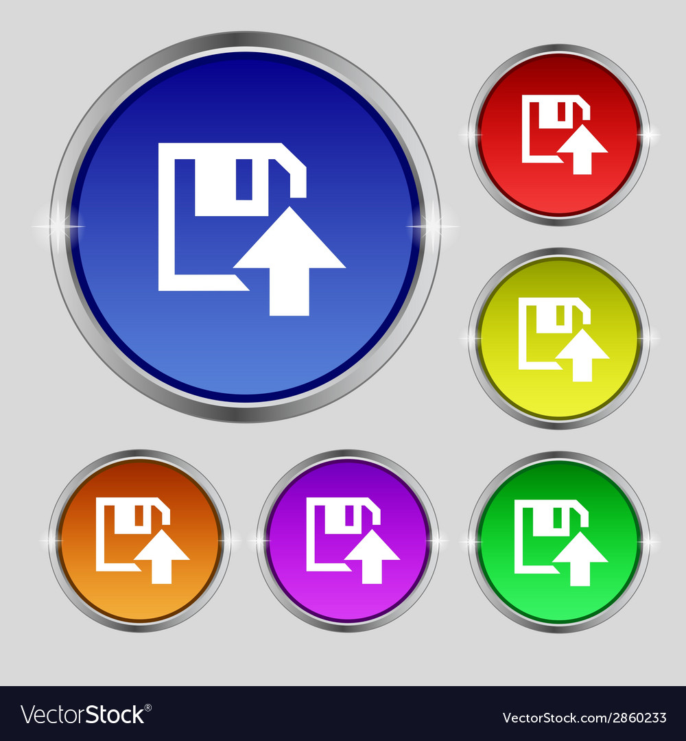 Floppy icon flat modern design set colour buttons vector   Price: 1 Credit (USD $1)