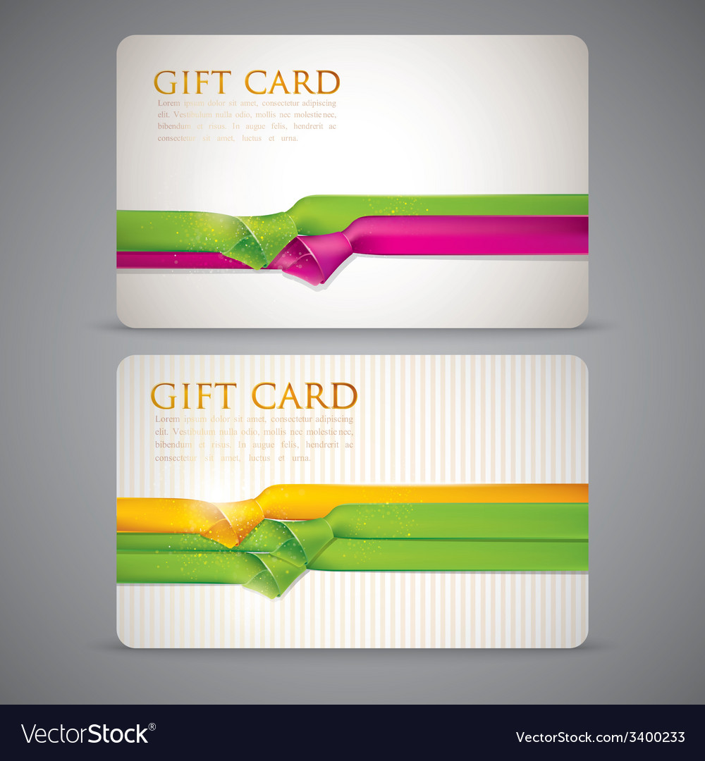 Gift cards with multicolored ribbons vector | Price: 1 Credit (USD $1)