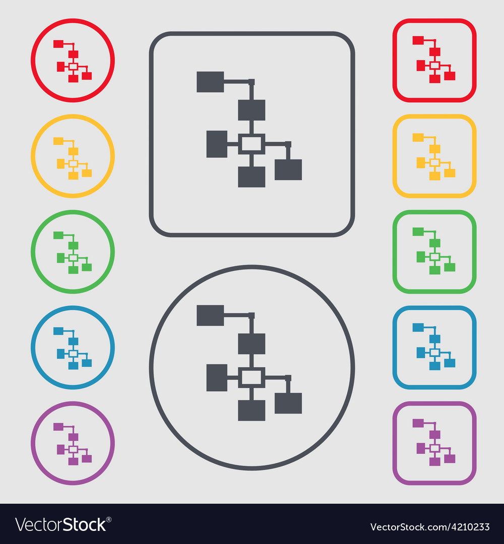 Local network icon sign symbol on the round and vector | Price: 1 Credit (USD $1)