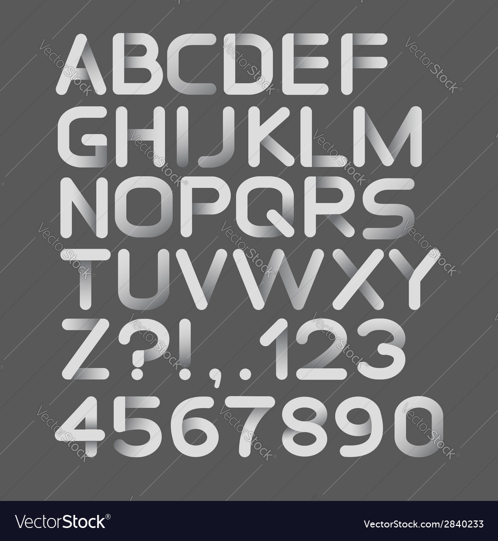 Paper white strict alphabet rounded isolated on vector | Price: 1 Credit (USD $1)