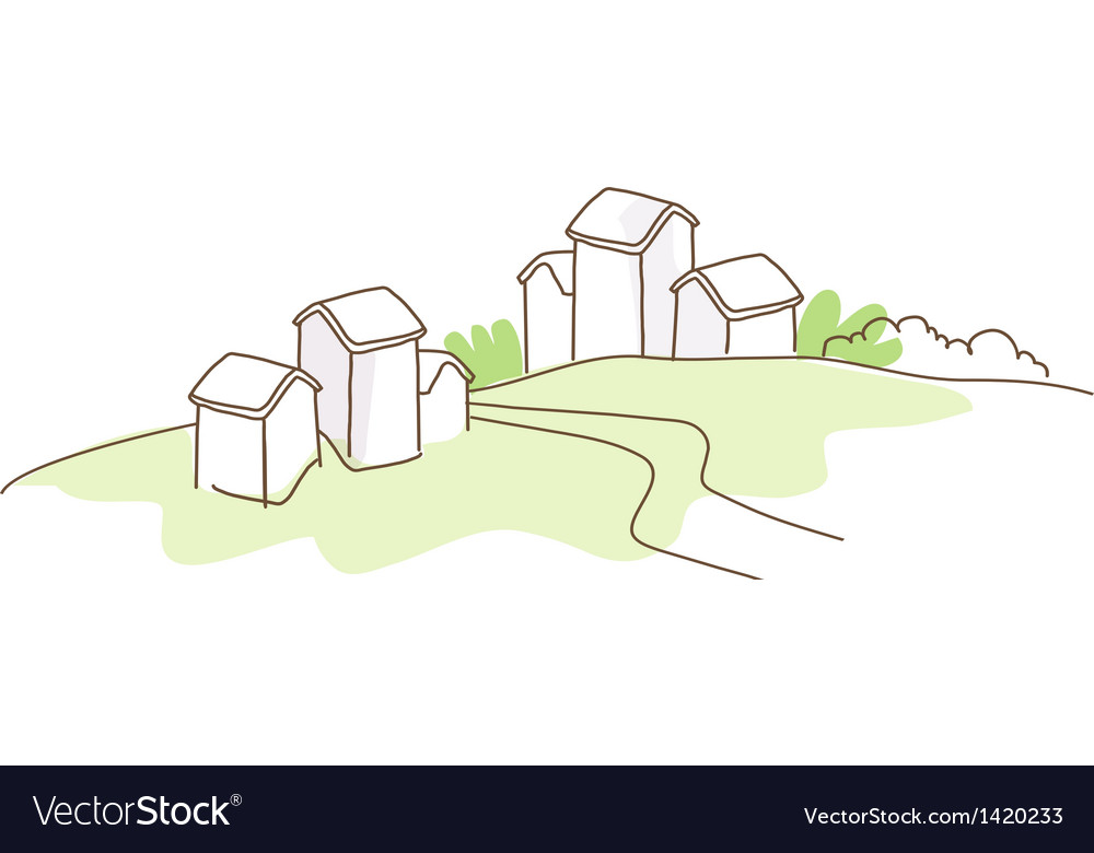 Rural house green landscape vector | Price: 1 Credit (USD $1)