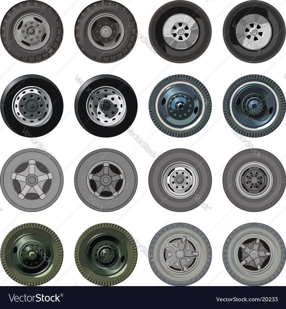 Truck wheels set vector | Price: 1 Credit (USD $1)