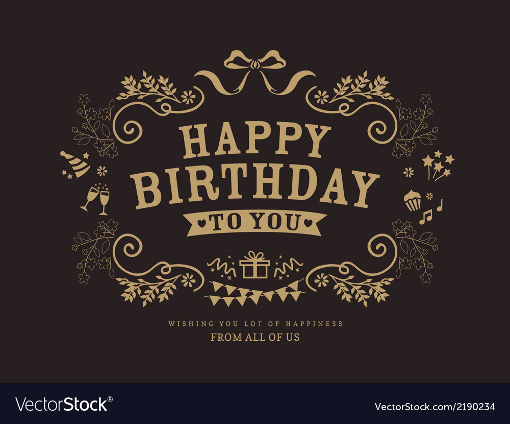 Birthday card design vintage style template vector | Price: 1 Credit (USD $1)
