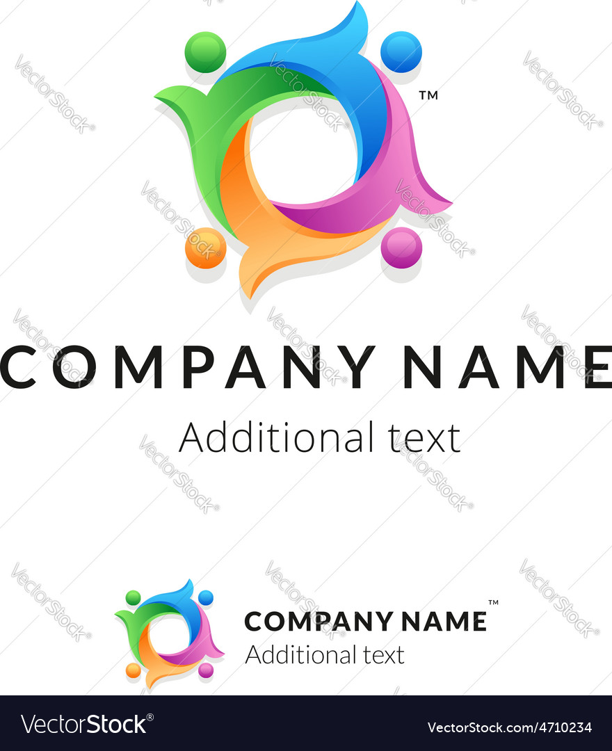 Bright colorful twisted logo with united people vector | Price: 1 Credit (USD $1)