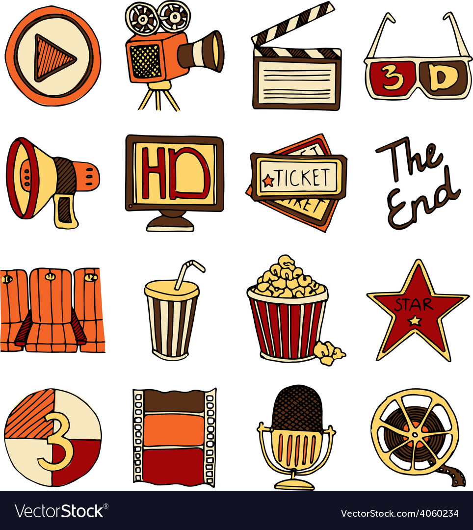 Cinema vintage icons set color vector | Price: 1 Credit (USD $1)