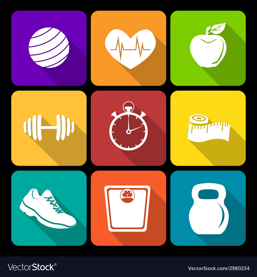 Fitness flat icons vector | Price: 1 Credit (USD $1)