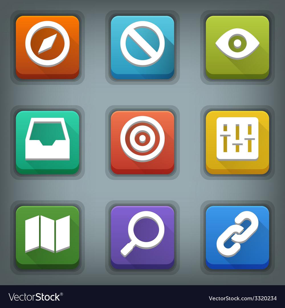 Flat icon set white symbols web 2 vector | Price: 1 Credit (USD $1)