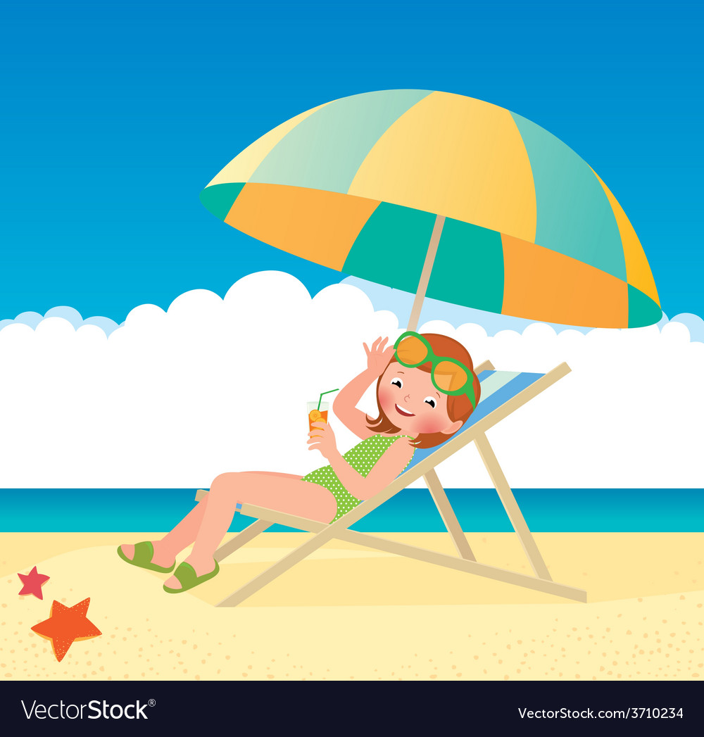 Girl sunbathes lying on a sun lounger on the beach vector | Price: 1 Credit (USD $1)