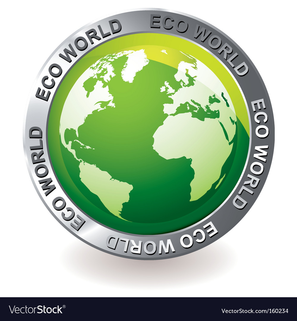 Green icon eco earth globe vector | Price: 1 Credit (USD $1)
