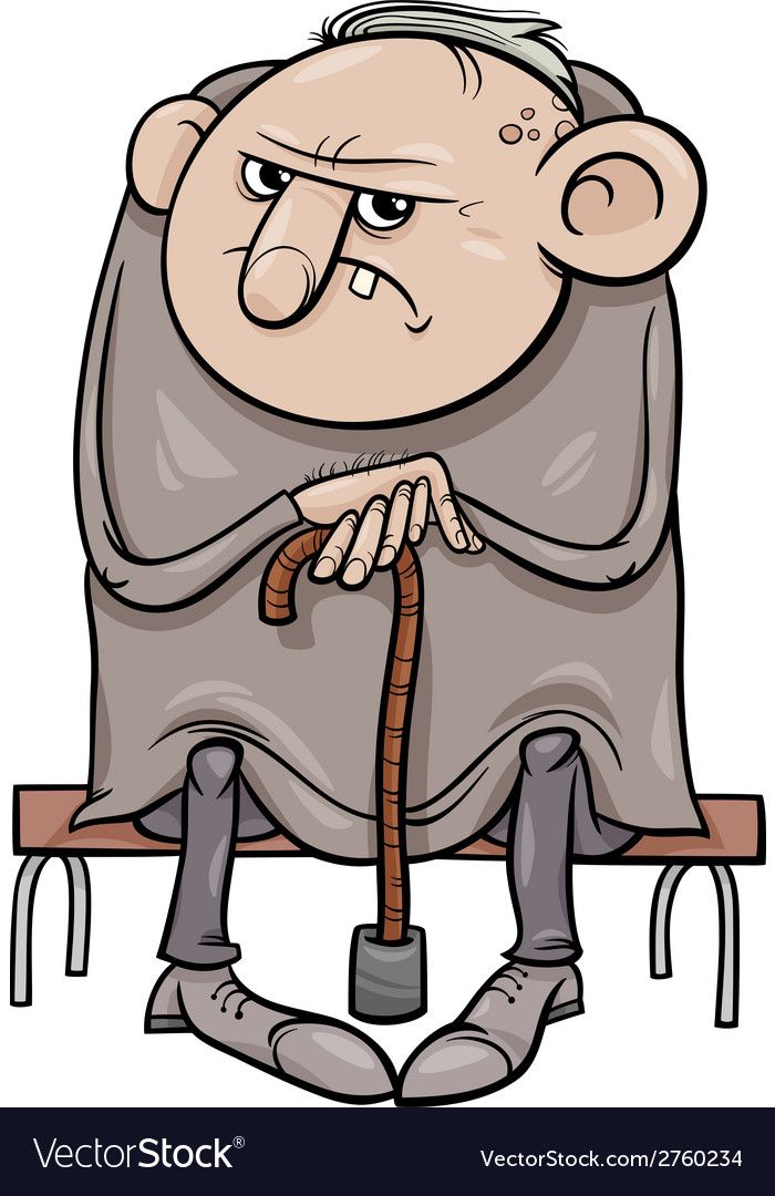 Grumpy old man cartoon vector | Price: 1 Credit (USD $1)
